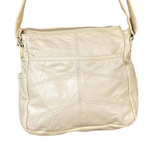 Soft Cowhide Leather Purse - Cream Cross Body Bag with Zipper & Flap