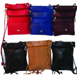 3 Zipper Leather Travel Pouch Bag - Small Cross Body Purse