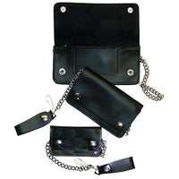Black Leather Trucker Wallet With Chain - Biker Snap Wallet - Regular - Small - Mini