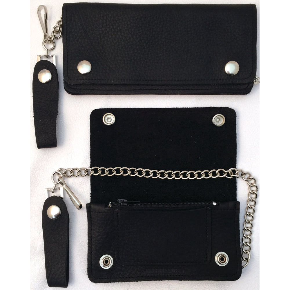 Soft Black Leather Trucker Wallet with Zipper and Snap Closure