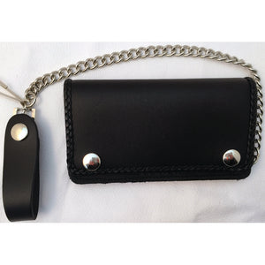 Braided Black Trucker Wallet with Chain - Snap Biker Wallet