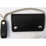 Braided Black Leather Trucker Wallet with Chain - Snap Biker Wallet