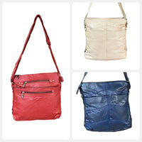 Four Zipper Soft Cowhide Purse - Adjustable Cross Body Leather Bag - Navy Blue - Red  - Beige