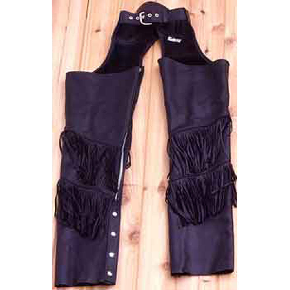 Black Fringed Leather Chaps - Small - XL - XXL - Unisex