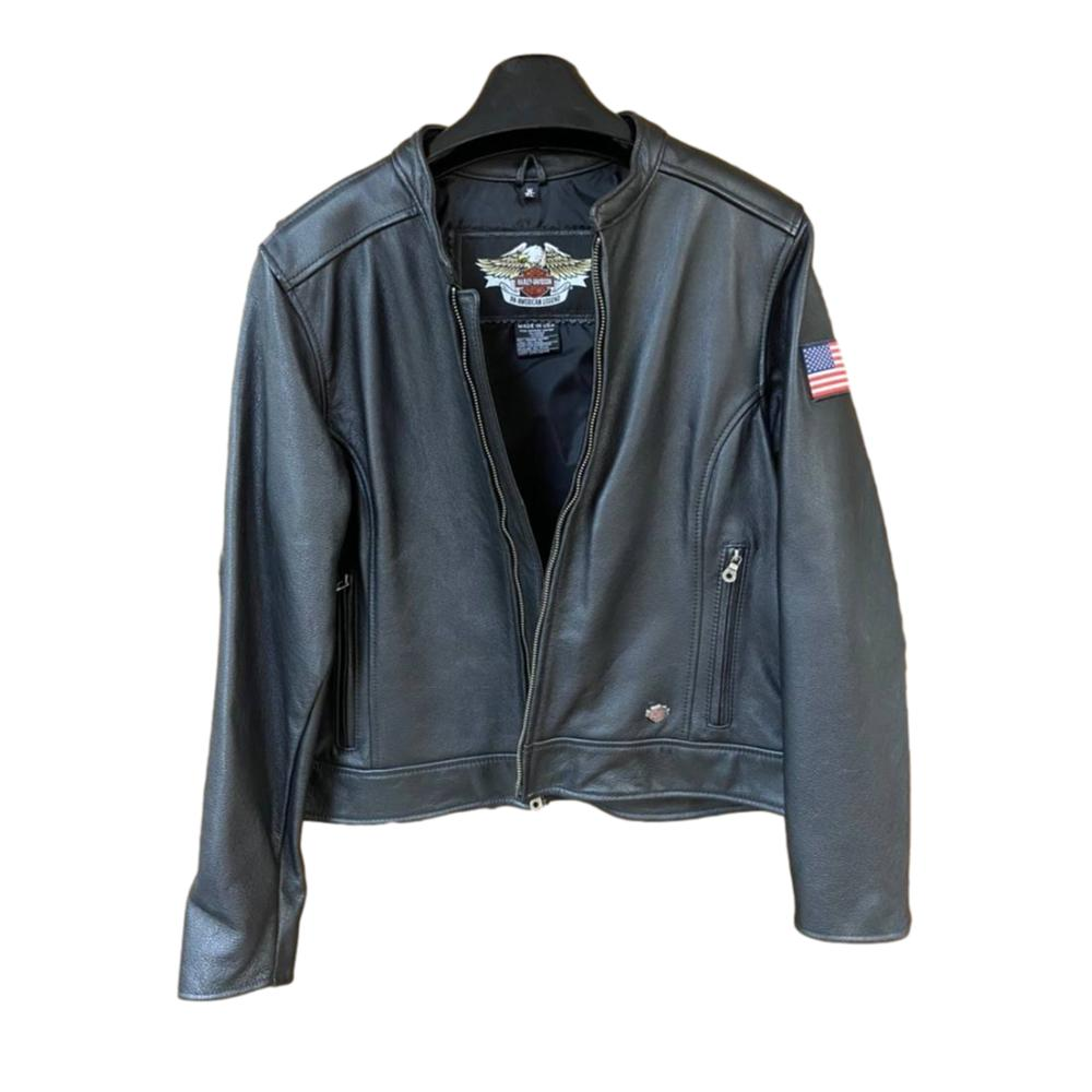 Women's Harley Davidson XL Black Leather Biker Jacket