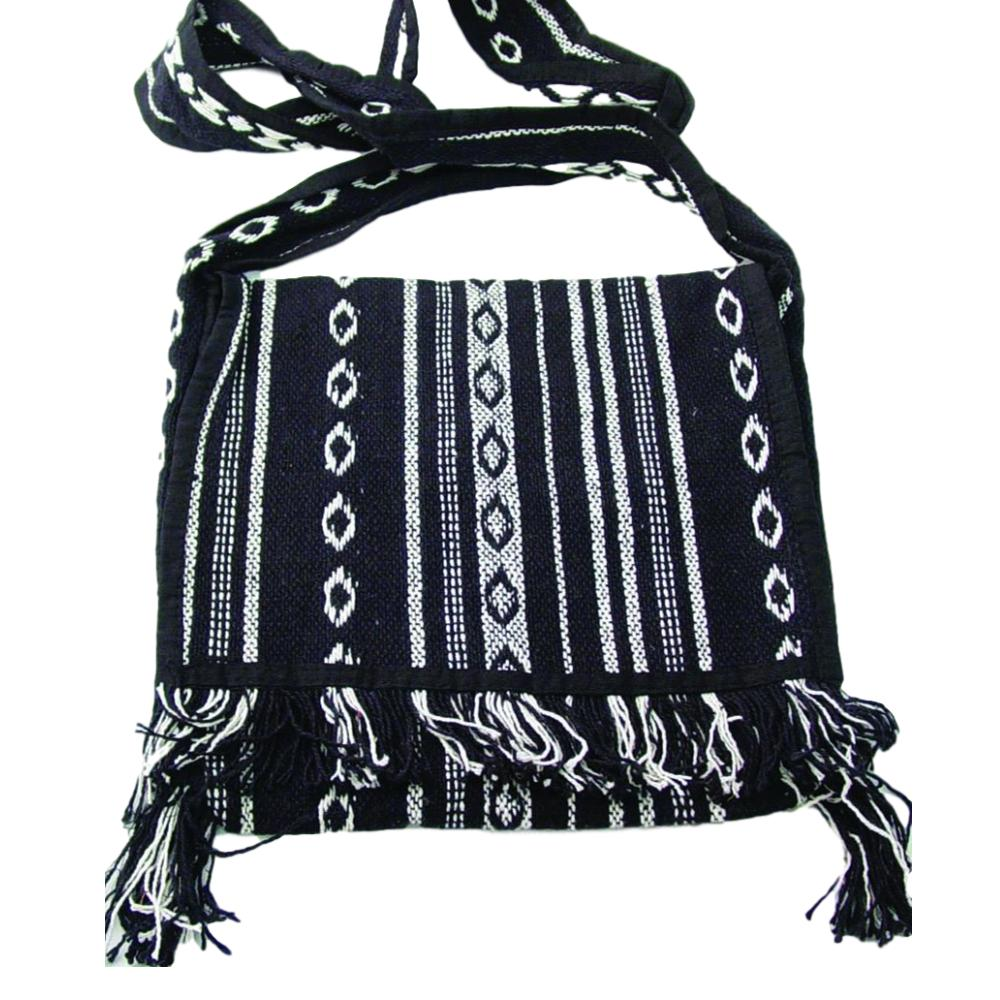 Handwoven Cloth Cross Body Handbag with Fringe - Hand Crafted Hippie Style Purse