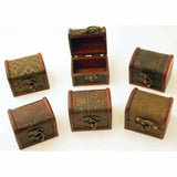 Hand Crafted Leather & Wood Jewelry Boxes - Set of 6