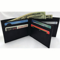 Bifold Flap Black Leather Security Wallet
