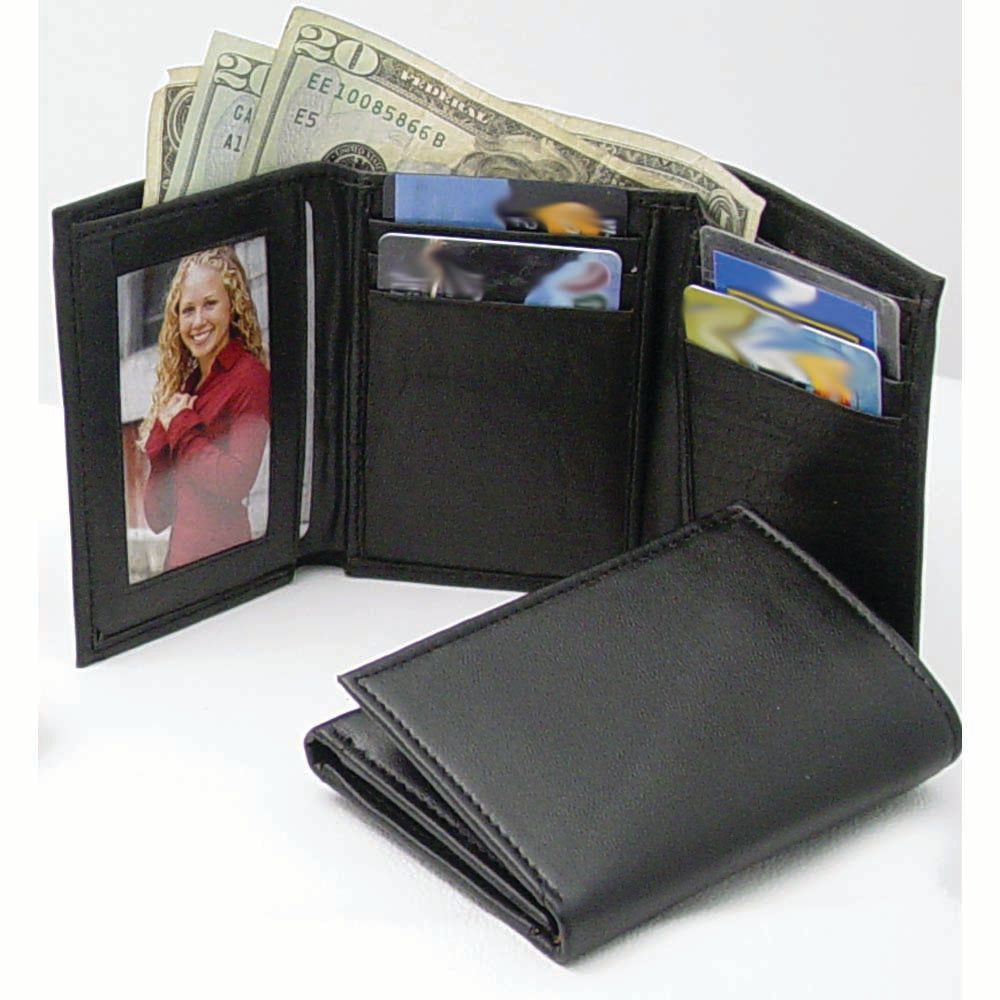 Soft Cowhide Trifold Black Men's Leather Wallet