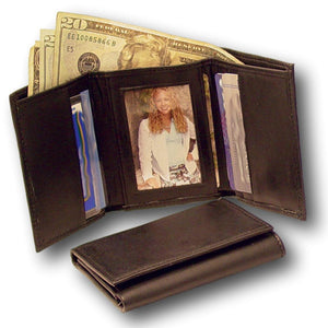 Soft Cowhide Trifold Black Leather Wallet for Men
