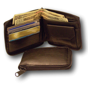 Black Leather Zipper Men's Wallet