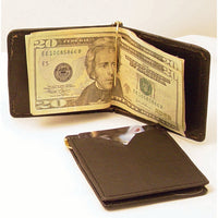 Men's Basic Black Leather Money Clip Wallet