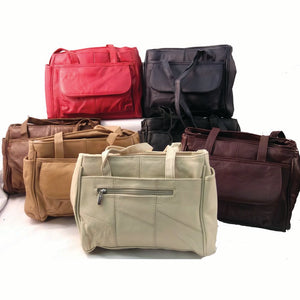 Five Zipper Soft Cowhide Leather Handbag Purse - Beige, Black, Brown, Deep Burgundy, Navy Blue, Red, Tan