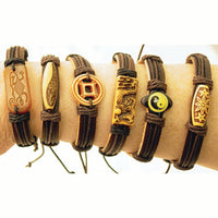 Handcrafted Leather Bracelets with Bead Accents - 12 Pack