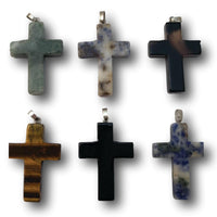 Stone Cross Necklace Pendant - Six Pack - Large - Small - Christian Jewelry