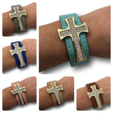 Leather Bracelets With Cross Accent - Brown, Blue, Gray, Pink, Tan, Teal - Assorted 6 Pack