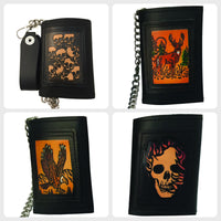Embossed Black Leather Trifold Men's Wallet with Chain - Eagle - Deer - Skull