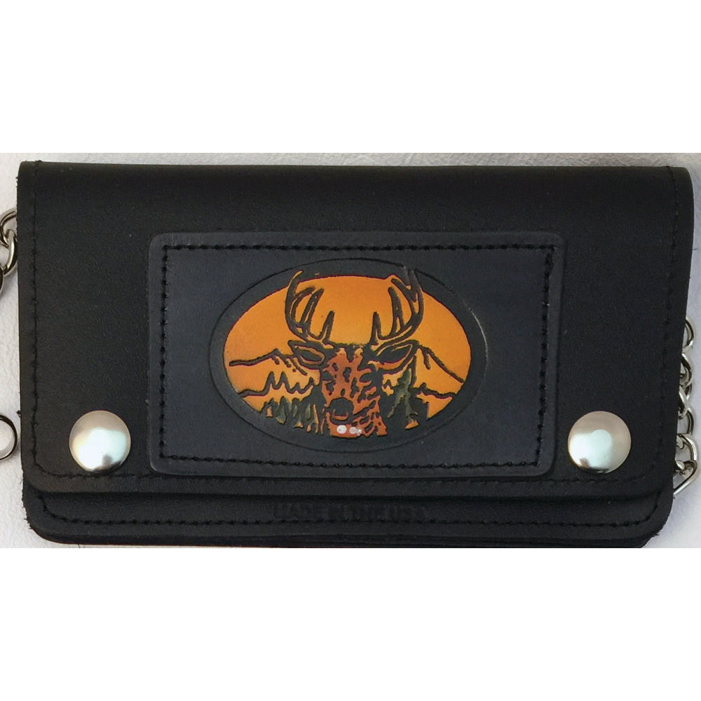 Small Embossed Leather Trucker Wallets with Chain - Deer - Eagle & Bike - Skull
