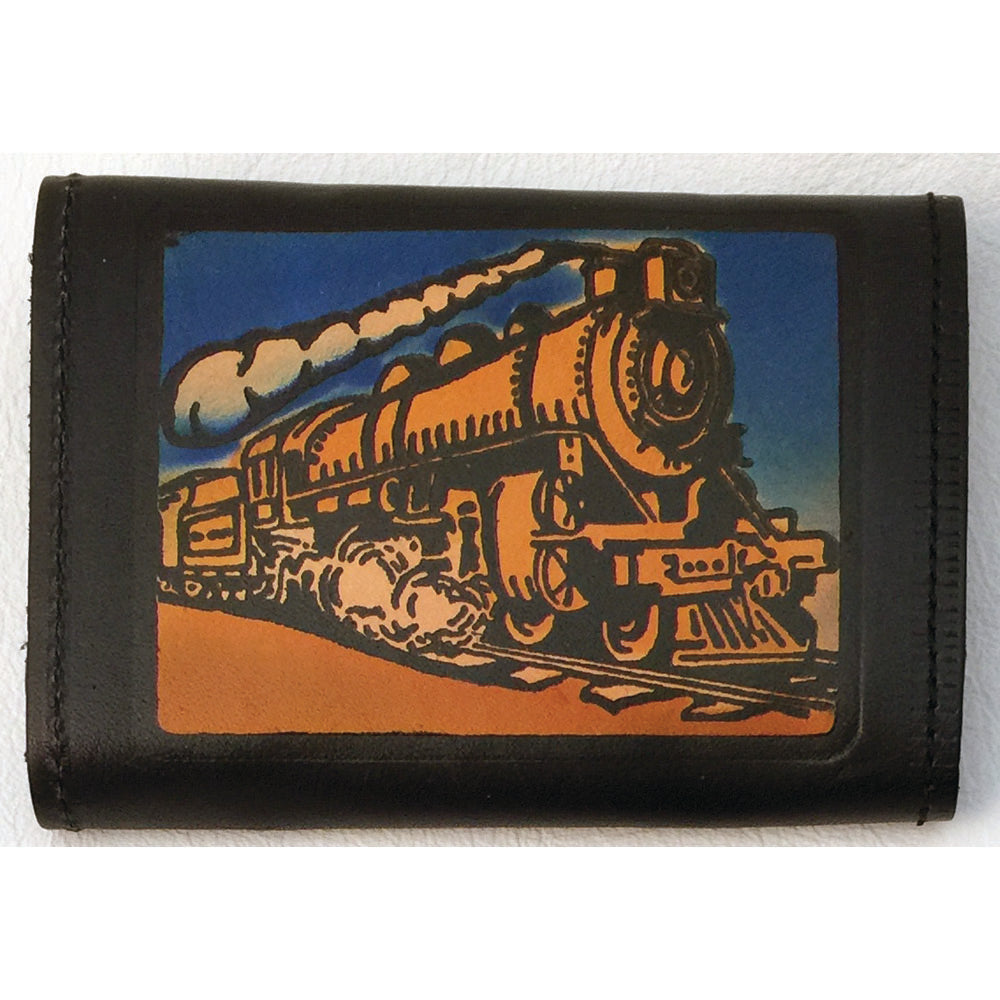 Trifold Embossed Leather Wallet - Train - Eagle - Firefighter - Live to Ride