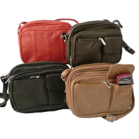 Organizer Leather Bag - Adjustable Leather Purse - Red - Brown - Tan - Beige