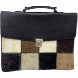 South African Cowhide Hair On Leather Briefcase - Unique Leather Laptop Bag