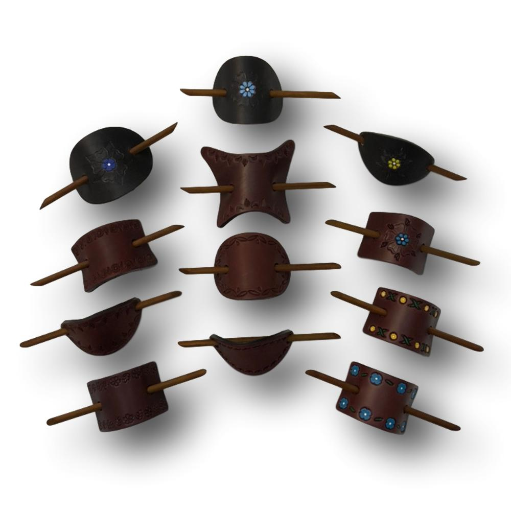 Large & Extra Large Genuine Leather Barrettes with Sticks - Handmade Tooled, Painted and Dyed Hair Accessories