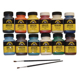 Fiebing's Acrylic Dye Pack - 12 Paint Colors, 2 Brushes & Acrylic Resolene