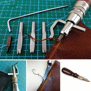 5 in 1 Adjustable Groover & 4 Piece Diamond Chisel Leather Craft Tool Set