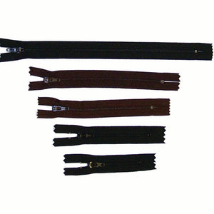 "Nylon Zippers for Crafts - Black - Dark Brown - 9"" - 6"" - 5"" - 4"" - 3"""