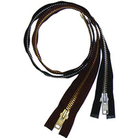 Heavy Duty Separating Zippers for Motorcycle Jackets & Chaps - Black - Brown - 24