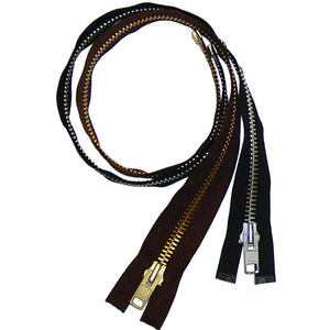 "Heavy Duty Separating Zippers for Motorcycle Jackets & Chaps - Black - Brown - 24"" 26"" 28"" 32"" 36"""