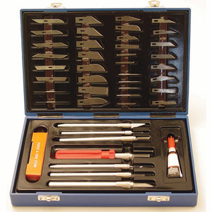 45 Piece Hobby Knife Set for Woodworking, Leathercraft & Model Work