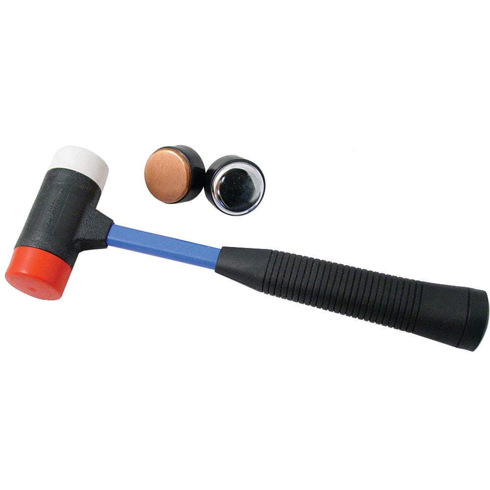 Rubber Mallet with 4 Interchangeable Heads - Steel, Brass, Nylon, Plastic