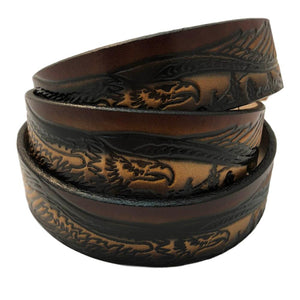 "Flying American Bald Eagle Themed Deeply Embossed Dyed Leather Belt - 42"" to 54"""