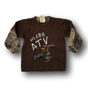 """My First ATV"" Little Hunter Brown & Camo Long Sleeve Tshirt - 12 Months - 18 Months"