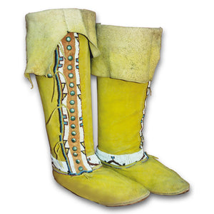 Native American Plains Style High Top Moccasins Pattern - Make Your Own Indian Knee High Moccasins - Men - Women