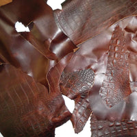 Brown Oiled Leather Scrap Pieces - 3 to 4 oz Cowhide - 5 Pound Bag