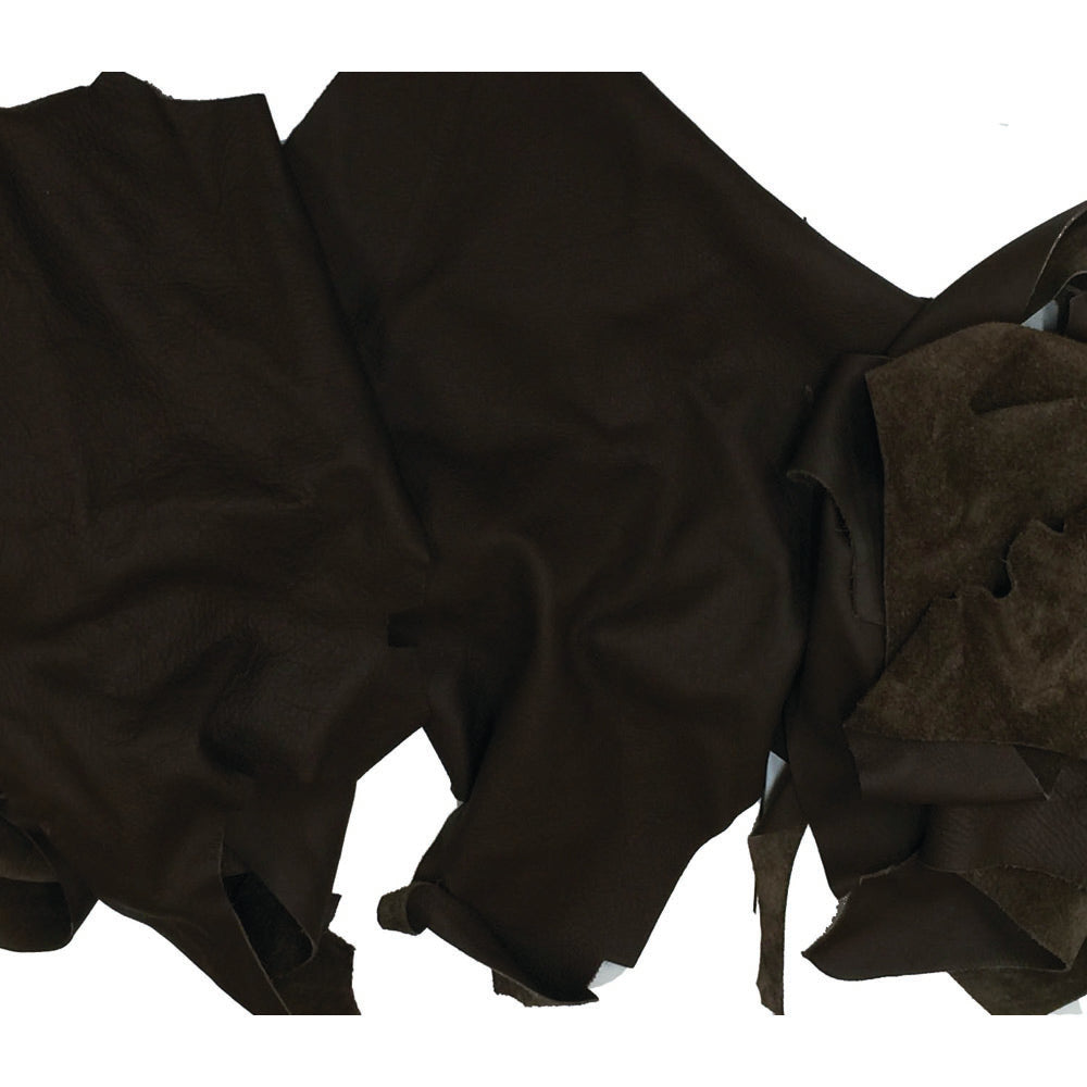 Soft Chocolate Leather Pieces - 3 oz Brown Cowhide Garment Leather Scraps