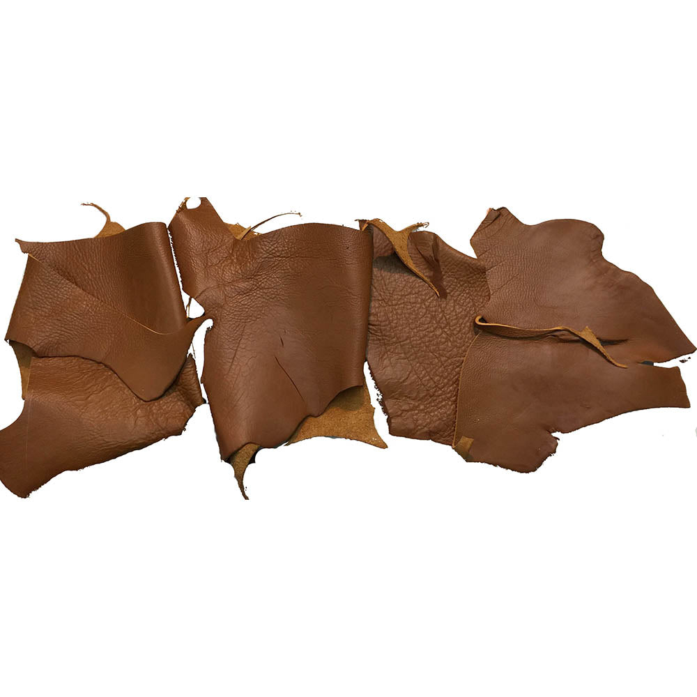 Brown Leather Pieces - 7 to 8 oz Cowhide Rustic Leather Scraps - Bulk