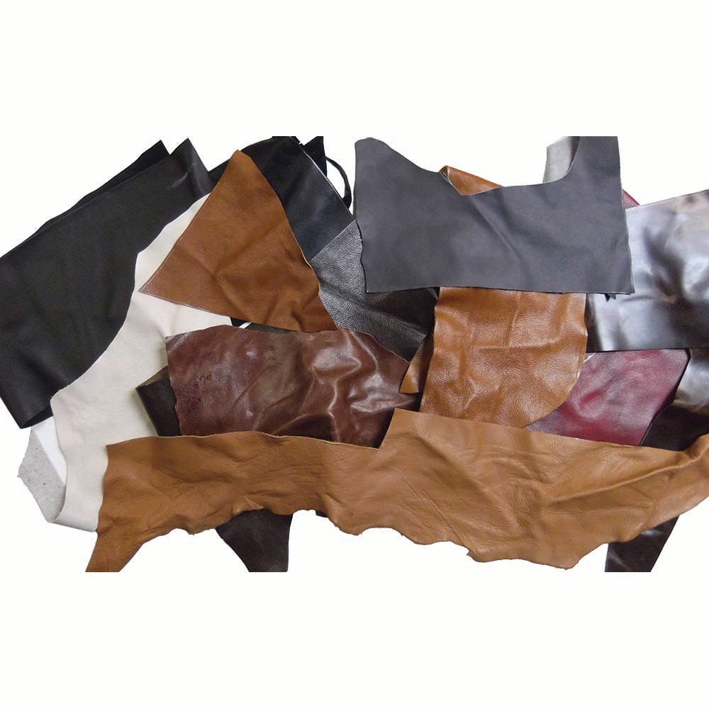 Soft Upholstery Leather Assorted Color Scrap Pieces