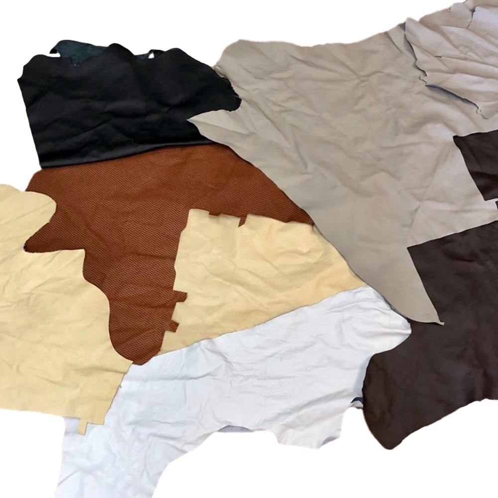 Extra Large Assorted Upholstery Leather Pieces - 5 lb Bundle - 3 oz Cowhide