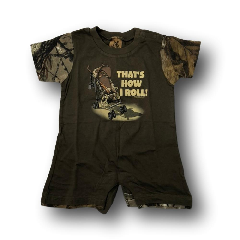 """That's How I Roll"" Little Hunter Camo One Piece Short Sleeve Romper- 18 Months"