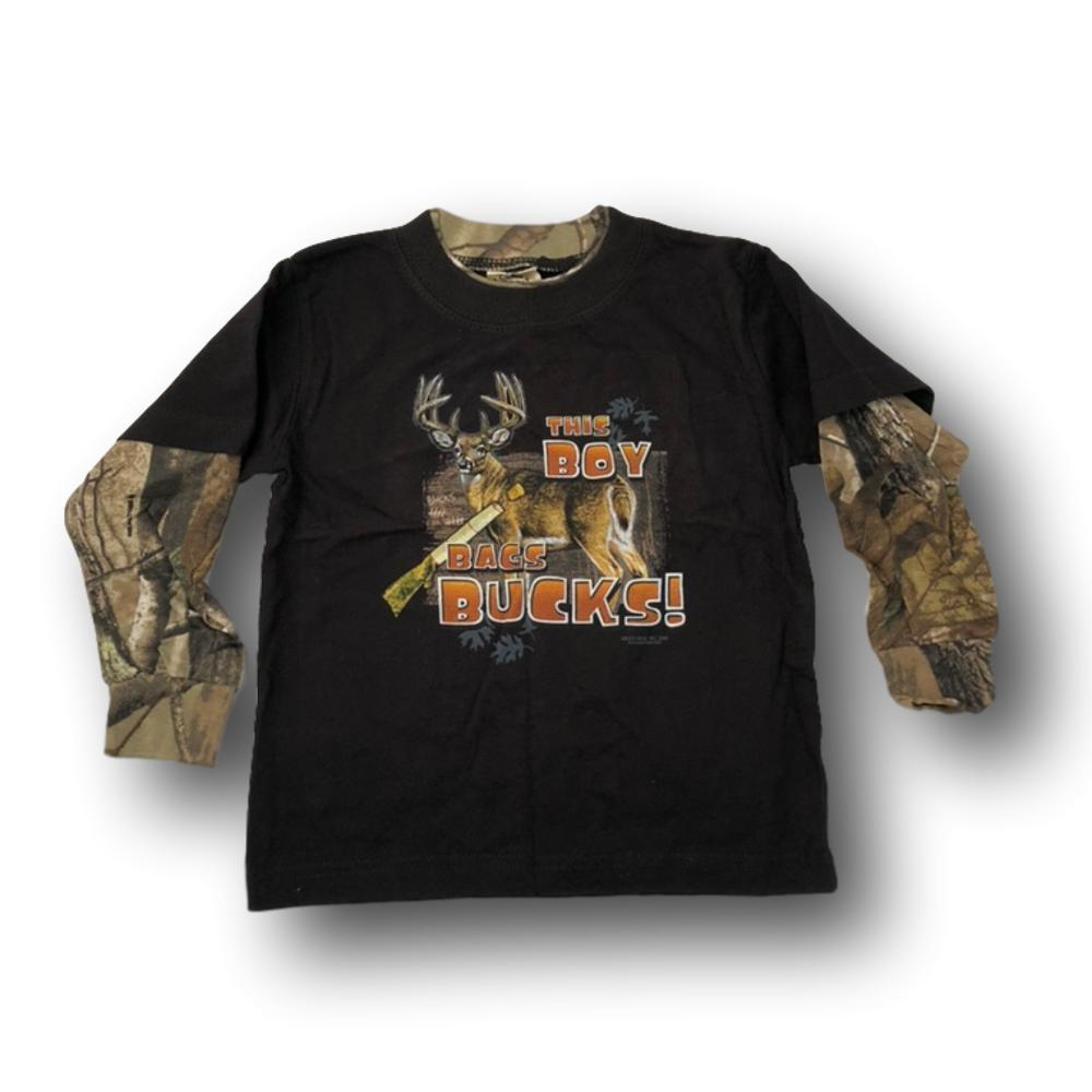 """This Boy Bags Bucks"" Long Sleeve Little Hunter Camo T-shirt - 2T - 4T"
