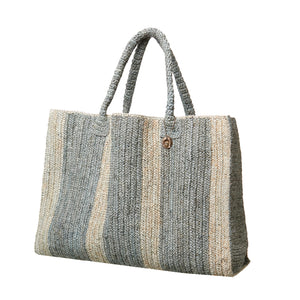 Raffia Bag Weekender stone-light grey