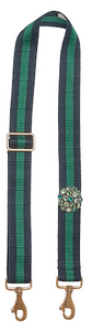 Bag Strap blue-green - Flower gold-green