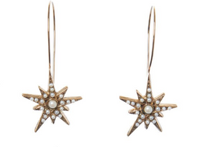 Star Hoops - Gold pearls