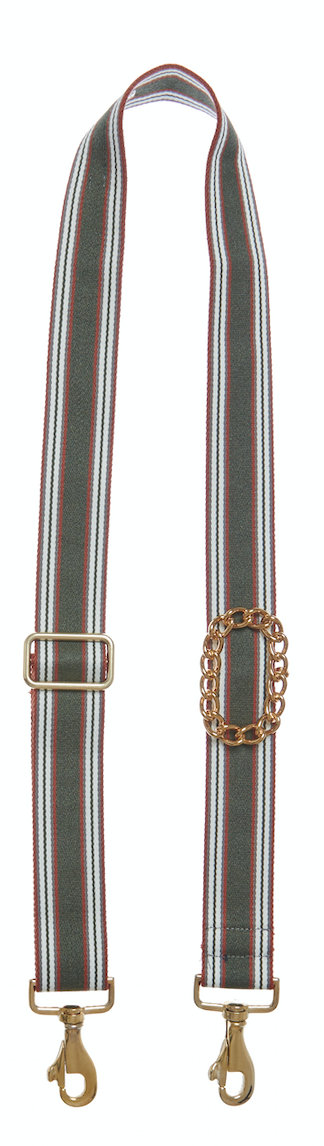 Bag Strap Lines olive - Gold Classic Chain