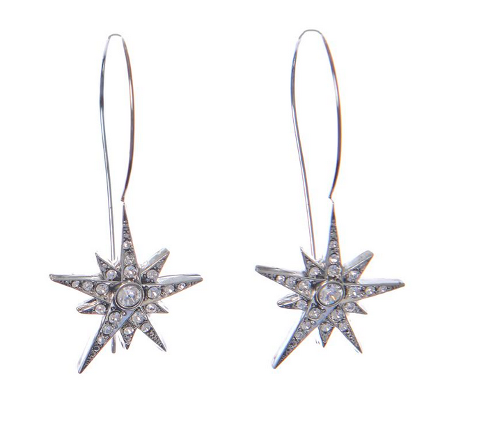 Star Hoops - Silver crystal clear