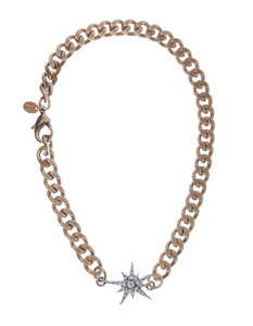 Curb Chain Choker Star - Silver