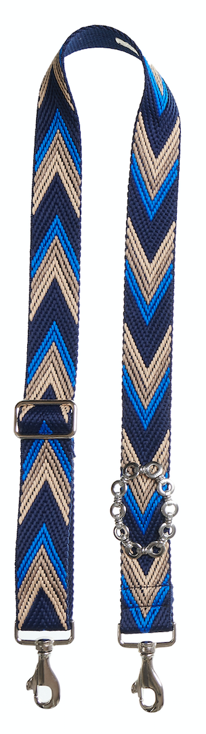 Bag Strap Racer blue - Silver Round Chain